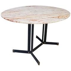 Ignazio Gardella Style Midcentury Table Oval in Calacatta Pink Marble, 1960s