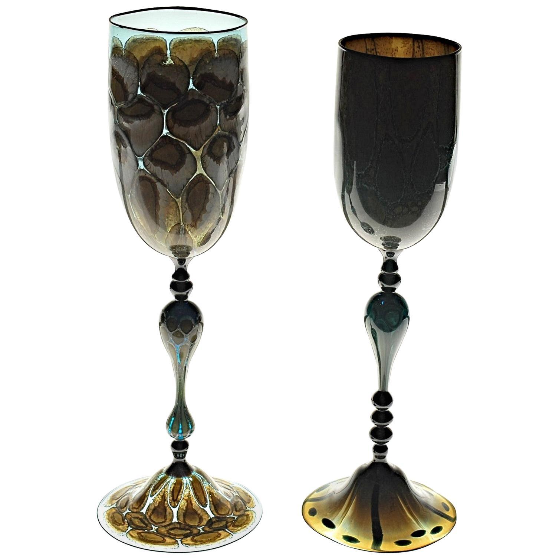 Igor Balbi Murano Pauly Venice Pair of Turtoise Murano Glass Goblets