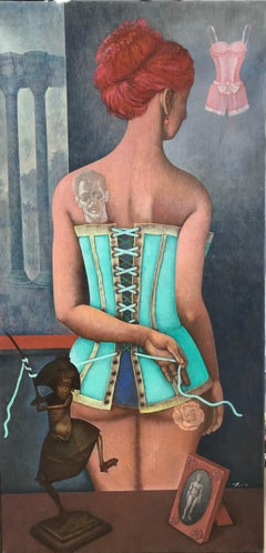 The Corset-a ginger girl in corset, made in grey, blue, brown, turquoise color