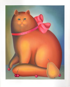 Cat with a Bow, Serigraph by Igor Galanin