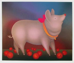 Pig With Bow, Serigraph by Igor Galanin