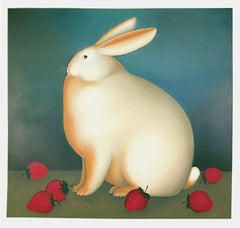 Rabbit with Strawberries, Serigraph by Igor Galanin