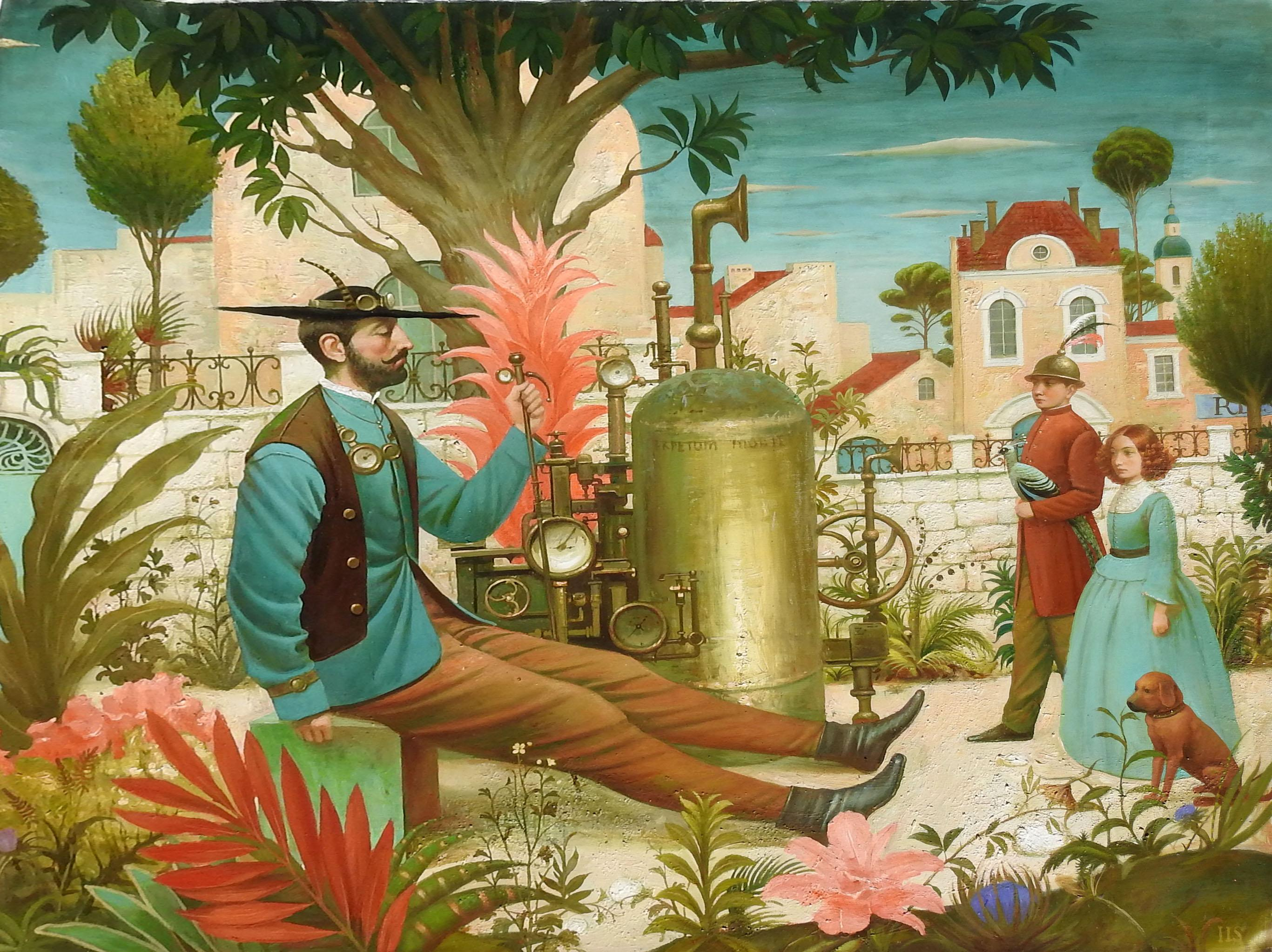 """The Inventor"", Igor Samsonov, Surrealism, Figurative, Original Oil, 47x54 in."