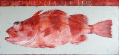 1 frozen sea bass., Painting, Oil on Canvas