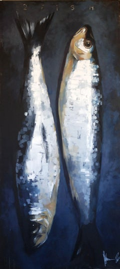 2 fish., Painting, Oil on Canvas