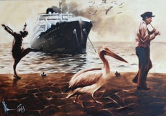 A solemn parade about the entrance to our harbor a, Painting, Oil on Canvas