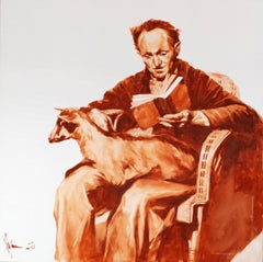 Old man with goat., Painting, Oil on Canvas