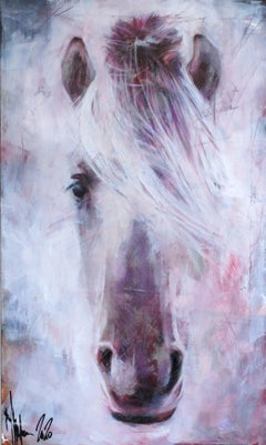 Portrait of old horse., Painting, Oil on Canvas