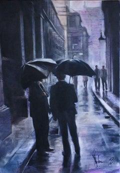 Prague. Rain., Painting, Oil on Canvas
