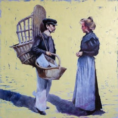 Seller baskets., Painting, Oil on Canvas
