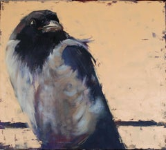 The world of birds. Crow Louise., Painting, Oil on Canvas