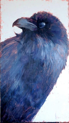 The world of birds. Jackdaw Barbara., Painting, Oil on Canvas