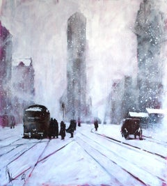 Winter. Retro., Painting, Oil on Canvas