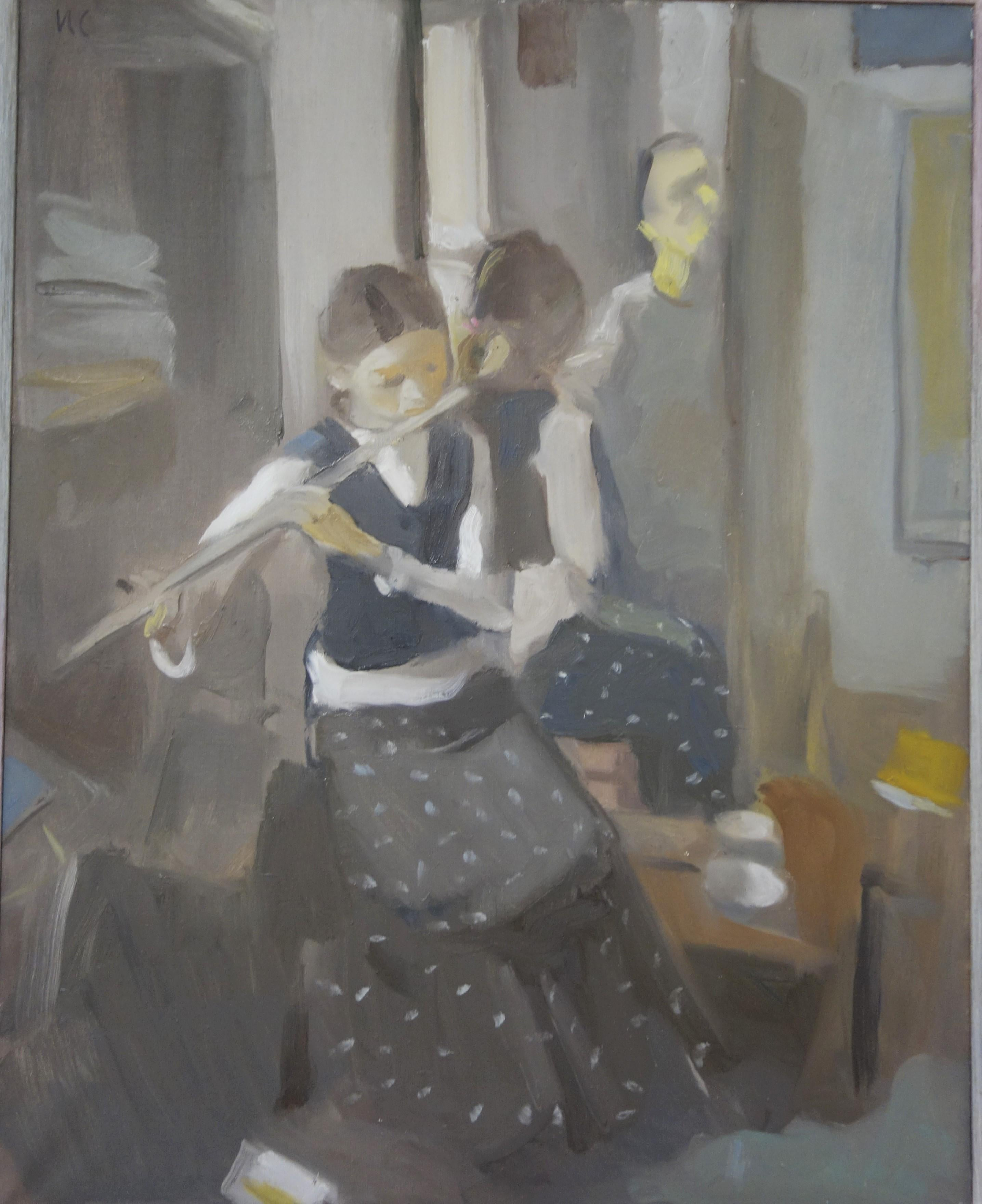 """"""" In the mirror with flute """" Music, Little Girl,Flute, cm. 80 x 100 Oil 2009"""