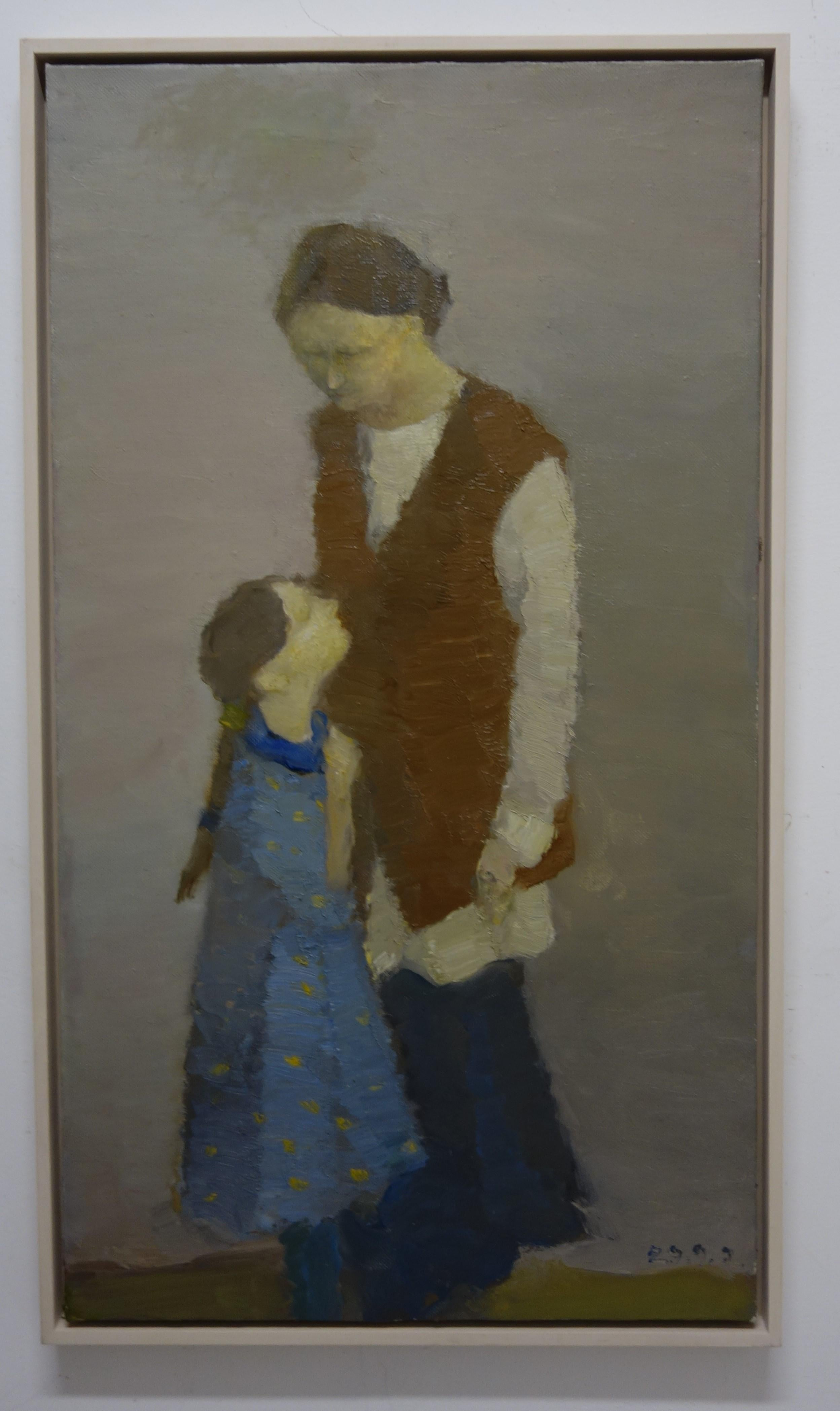 Mother ,daughter , family, 21st, figurative     Oil  cm. 95 x 51