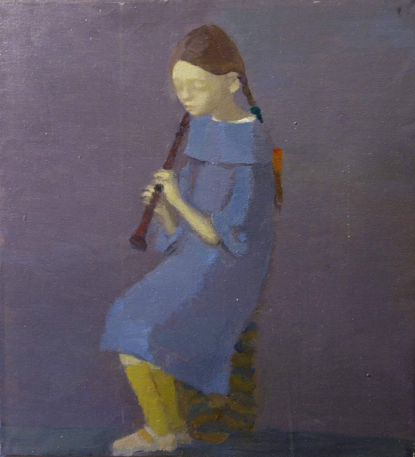 Portrait with Flute - 21st Century, Contemporary, Oil, Portrait Painting, Blue
