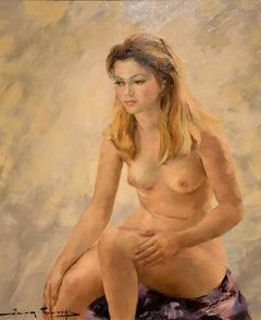 """Oil Painting by Igor Talwinski """"Nude Study, Blonde Mode Seated"""""""