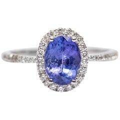 IGR Certified 1.25 CT Oval Tanzanite 0.30 CT Diamond 18 KT Gold Engagement Ring