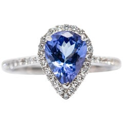 IGR Certified 1.58 CT Pear Tanzanite 0.41 CT Diamond 18 KT Gold Engagement Ring