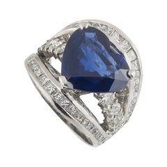 IGR Certified Heart Cut Sapphire and Diamond Ring 7.66 Carat Sapphire