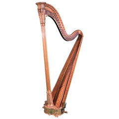 19th Century Regency Gilt Wood and Maple English Harp I&I Erat