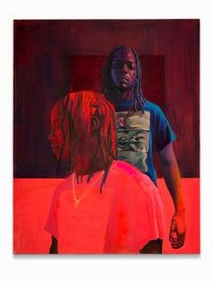 """""""Gabriel"""", African-American Portrait, Figurative, Reds"""