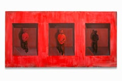 """""""Inevitable Lapse"""", African-American Portrait, Figurative, Reds and Blacks"""