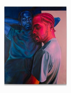 """""""Preservation"""", African-American Portrait, Figurative, Reds and Blues"""