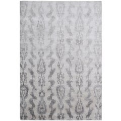 Ikat Bamboo Pale Hand-Knotted 10x8 Rug in Silk by The Rug Company