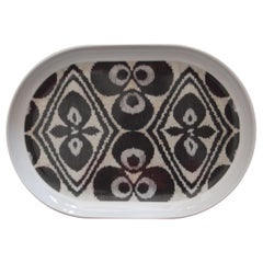 Ikat Black Porcelain Tray Made in Italy