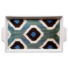 Ikat Blue and Green Handmade Ceramic Tray Made in Italy