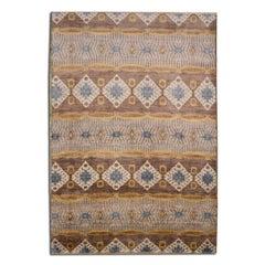Ikat Design Rug. Silk and Wool. 2,15 x 1,20 m.
