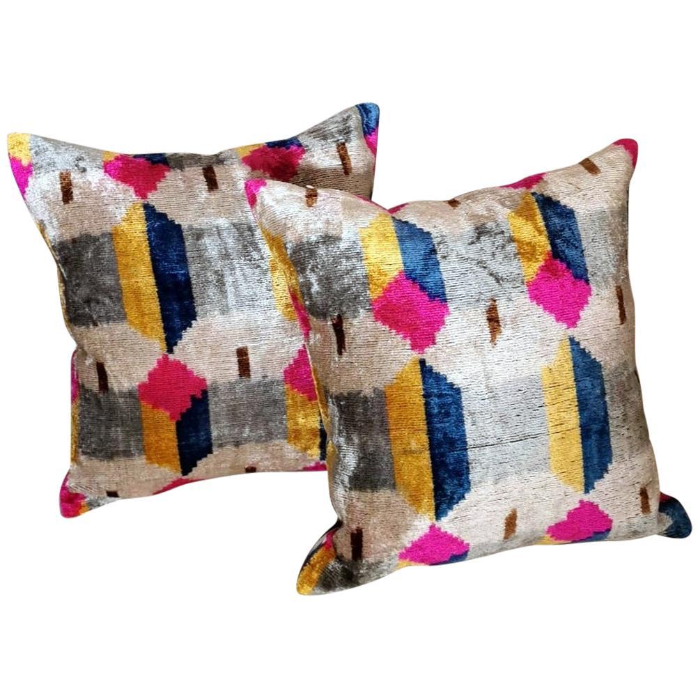 Ikat Fabric Pair Handmade Pillows In Uzbekistan
