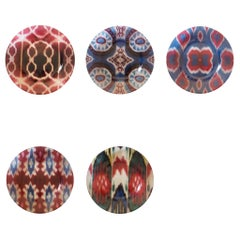 Ikat Glass Dinner Plates Set of 5