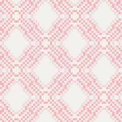 Ikat Pixel Screen Printed Wallpaper in Blossom 'Pink and Blush on White'
