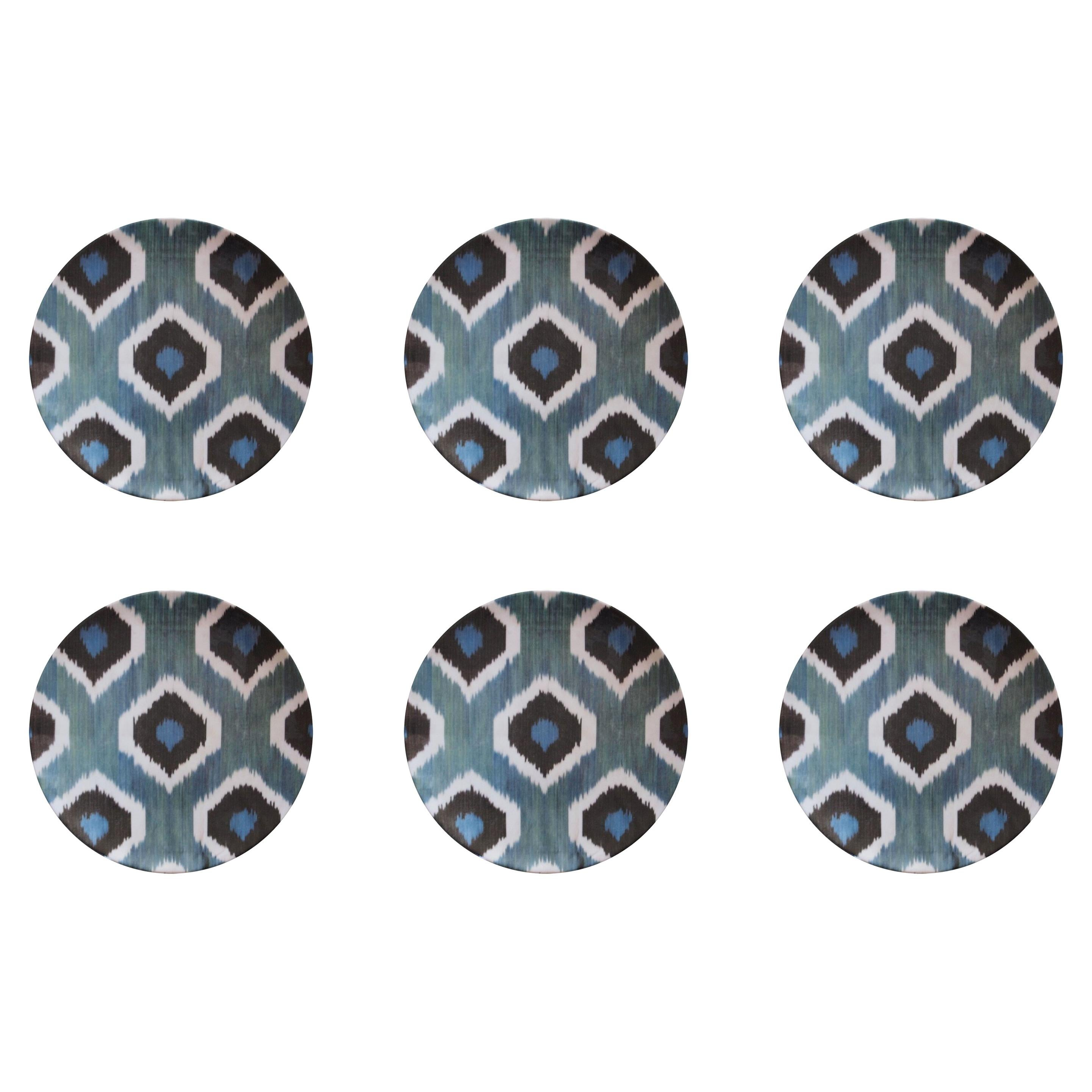 Ikat Porcelain Dessert Plates Set of Six Green Plates Made in Italy