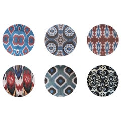 Ikat Porcelain Dessert Plates Set of Six Made in Italy