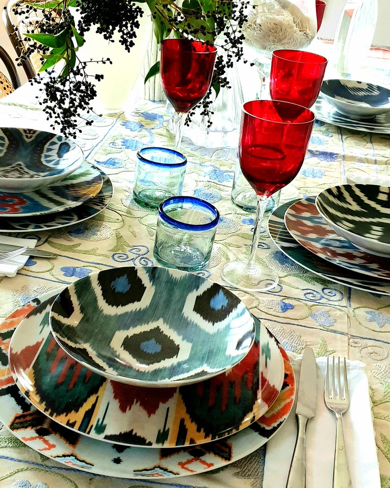 Other Ikat Porcelain Dinner Plates Set of Six Green Plates Made in Italy For Sale