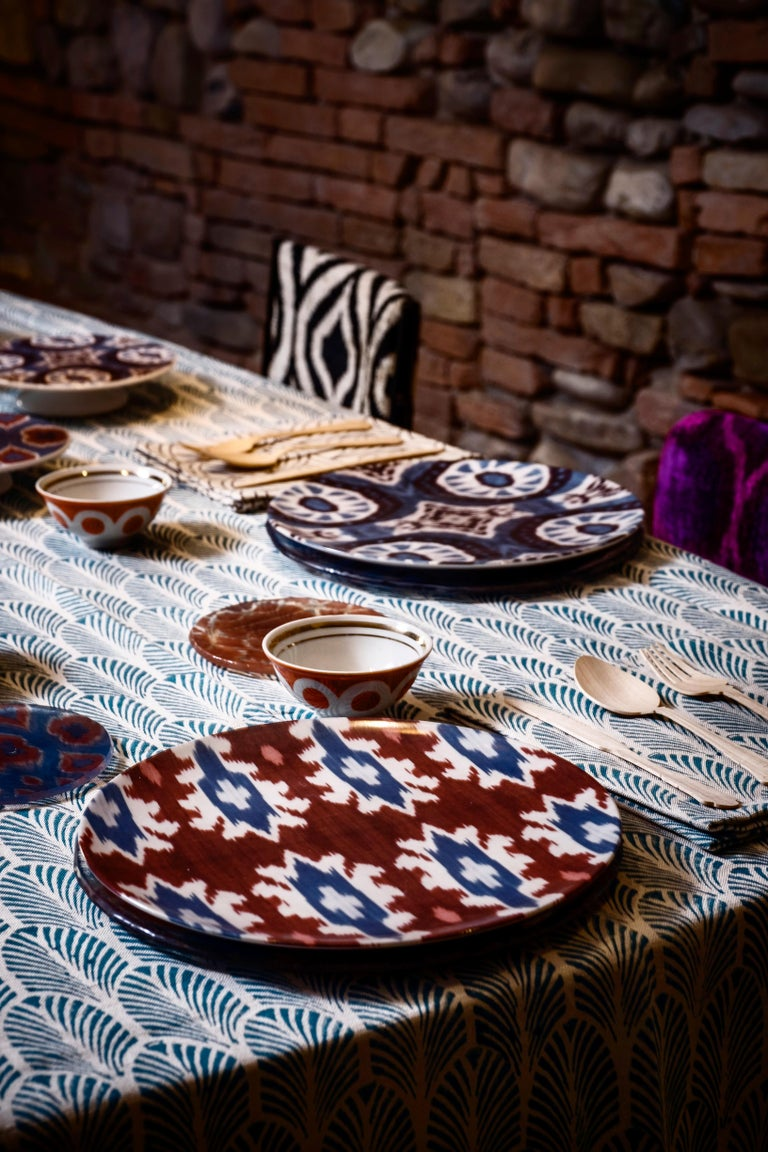 Contemporary Ikat Porcelain Dinner Plates Set of Six Made in Italy For Sale