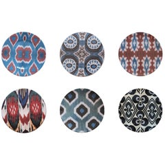 Ikat Porcelain Dinner Plates Set of Six Made in Italy