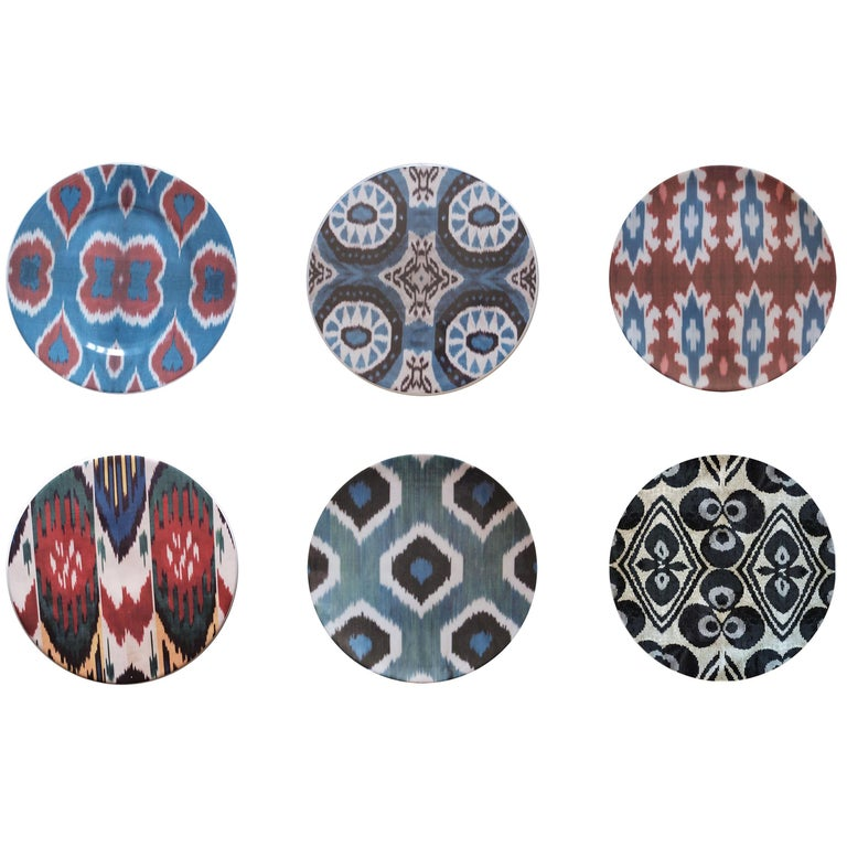 Ikat Porcelain Dinner Plates Set of Six Made in Italy For Sale
