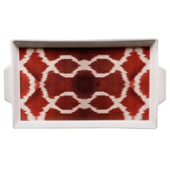Ikat red Handmade Ceramic Tray Made in Italy