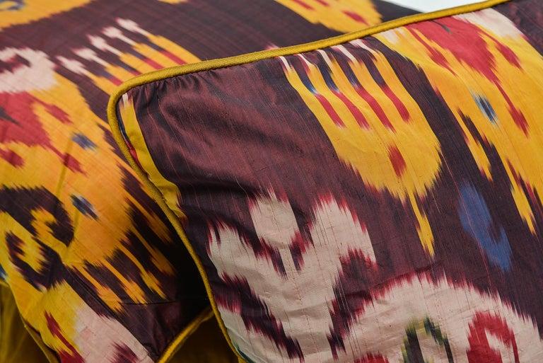 Turkmen  Rare Silk Pillows by a FERGHANA Old Ikat. For Sale