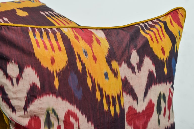Hand-Woven  Rare Silk Pillows by a FERGHANA Old Ikat. For Sale