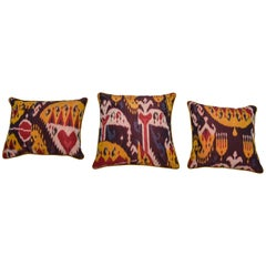 Rare Silk Pillows by a FERGHANA old Ikat.