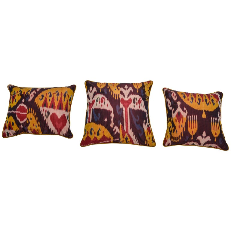 Rare Silk Pillows by a FERGHANA Old Ikat. For Sale