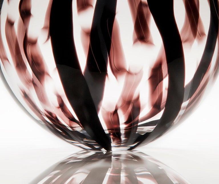 Contemporary Ikate II, a clear & aubergine / black Glass blown Sculpture by Ann Wåhlström For Sale