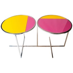 IKB 191 Contemporary Circular Chrome Glass Pink Blue Center Table, Spain, 2019