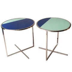 IKB 191 Contemporary Round Chrome Glass Cian Blue Center Table, Spain, 2019