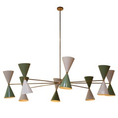 IKB191 Contemporary Stilnovo Style Brass Glass Suspension Lamp, Spain, 2020